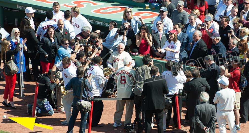 Fenway Park Opening Pitch. Caroline Kennedy and Boston Mayor Menino