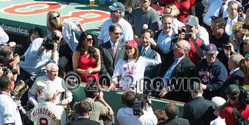Fenway Park opening day ball thrown by Caroline Kennedy and Thomas Menino
