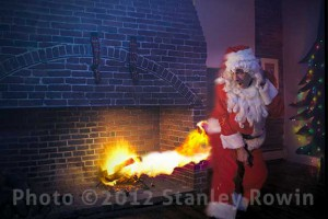 Santa descends chimney, but catches fire