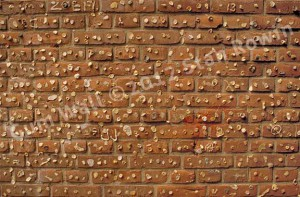 Photo of a red brick wall of chewing gum deposits