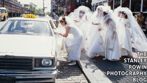 Running of the Brides, hail a taxi in Harvard Square