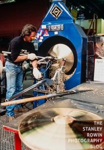 Zildjian Cymbal company manufacturing cymbals using a lathe