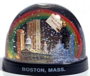 René Magritte homage Snow globe with man in it