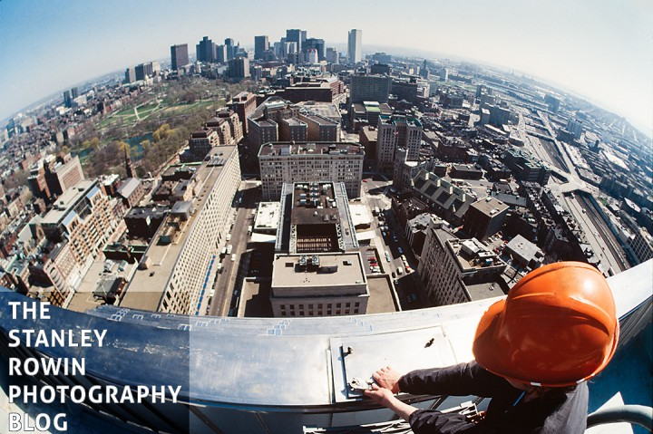 Fisheye photograph from top of the Boston Prudential Building