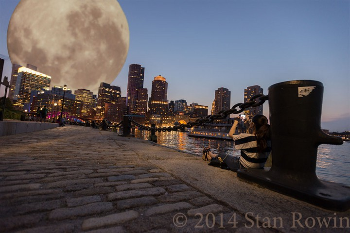 Sunset over Boston with Supermoon