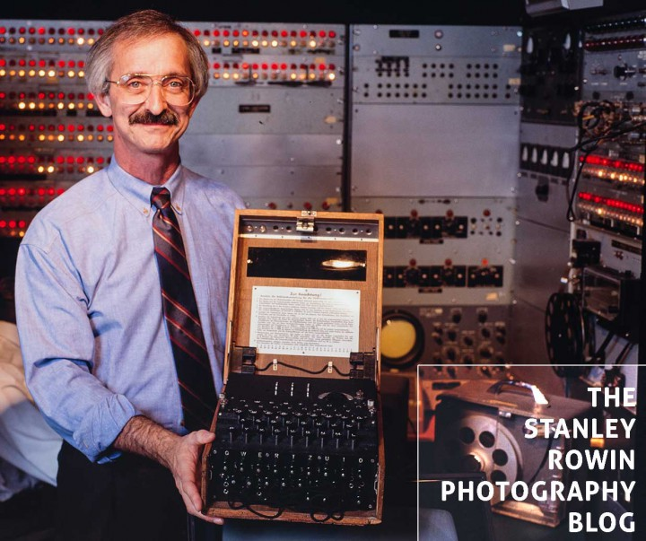 MIT Professor Woodie Flowers holding an original German Enigma machine